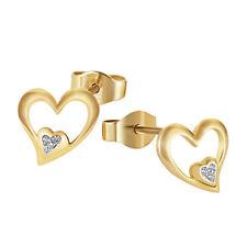 Goldmaid Ohrstecker Herzen 375 Gelbgold Ohrringe 6 Diamanten 0,02 Karat SI/H