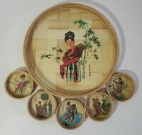 Vintage Japanese Japan Geisha Woman Bamboo Wicker Serving Tray With 5 Coasters