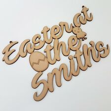 Personalised Easter Plaque Craft Sign with egg chic mdf wooden wood gift box
