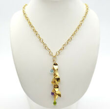Ladies Necklace 14ct (585,14K) Yellow Gold Leafy Drop Pendant With Gemstones