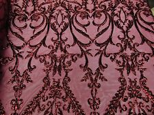 """SWEETHEART Damask 4-Way Stretch Mesh Lace BURGUNDY Tiny Sequin Fabric  56"""""""