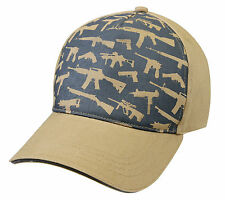 Deluxe Low Pro Guns Hat - Khaki - Tan Cap with Guns Printed on Front