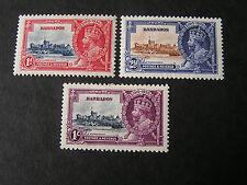 BARBADOS, SCOTT # 18+188/189(2), TOTAL 3, 1935 SILVER JUBILEE MH