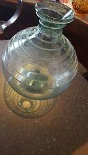Antique blown glass pre 1930s carafe bottle swirl chisled pontil