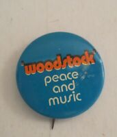 Vintage Woodstock Peace And Music Pin Button