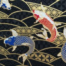 Fish fabric, oriental carp, Japanese black gold metallic cotton, chinese asian