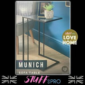 Contemporary Sofa Table Glass Top Matte Black Legs Easy Assembly