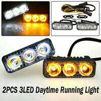 2x 3 LED Car Daytime Running Light DRL Driving Turn Signal Fog Lamp White Amber