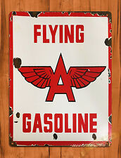 "TIN-UPS TIN SIGN ""Flying A Gasoline"" Auto Airplane Plane Vintage Retro Ad Decor"