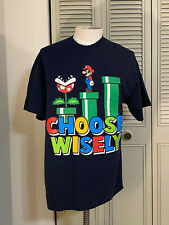 Super Mario T-Shirt Men XL  Video Game Nintendo Choose Wisely Blue