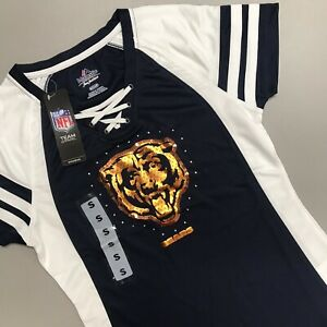 Chicago Bears Draft Me Jersey Tee Shirt Majestic NFL Sequin Women Size Small NEW