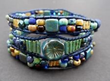 Mosaic Tile Green Yellow Turquoise Blue 3x Leather Wrap Czech Picasso Bracelet