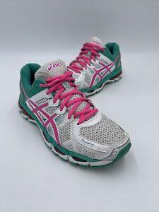 Asics Gel Kayano 21 Women's Running Shoes Size 7 White Pink Green T4H7N