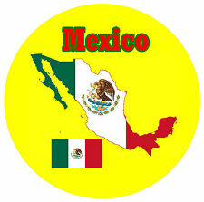 MEXICO MAP / FLAG - SOUVENIR NOVELTY ROUND FRIDGE MAGNET -  NEW - GIFT