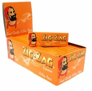 Full Box of 50 Booklets Zig Zag Liquorice Cigarette Rolling Papers Free P&P