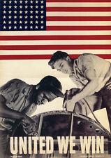 UNITED WE WIN 1942 WW2 propaganda poster print