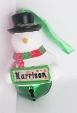 25361 HARRISON NAME FROSTY SNOWMAN COLOUR BELL CHRISTMAS TREE DECORATION GIFT