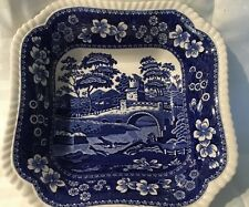 Copland Spode's TOWER BLUE England Square Vegetable Bowl Gadroon Edge*