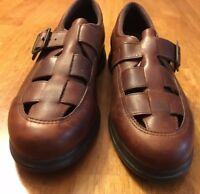Red Wings Women Size 8.5 B Brown Leather Upper Loafer Woven Toe Shoe Sandals
