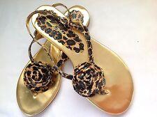 **7.5 M* Beverly Feldman Rose Snake Skin Leather Sandals Thongs Flats Shoes Top