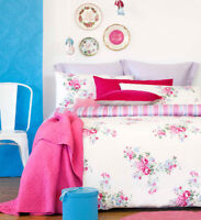 Ardor Rose Floral Chic 225TC Quilt Doona Cover Set - Single Double Queen King