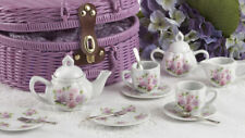 Delton Products Porcelain Rose Tea Set for Two, Purple Basket 8089-6