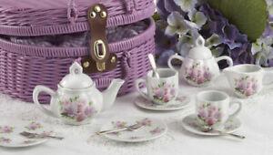 Delton Products Porcelain Rose Tea Set for Two, Purple Basket 8089-6