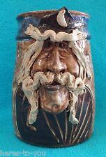 Vintage JOHN COINER Wizard Stoneware Pottery Crock~Handleless Mug/Stein~3D Face