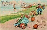 Antique Valentine's Day Postcard Tuck's Undivided Dutch Kids By the Sea ca. 1905