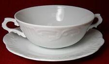 VISTA ALEGRE Portugal MANUELINE WHITE Cream Soup & Saucer Set