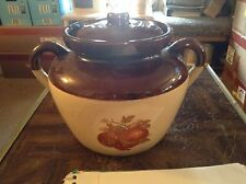 McCoy crock shaped cookie jar with apples and grapes on it