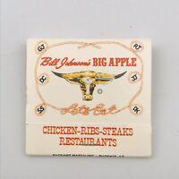 Vintage Bill Johnson's Big Apple Restaurant Matchbook Western Unstruck Full 30