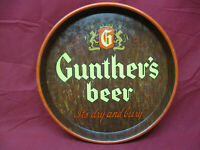 Vintage Gunther's Beer Metal Bar Serving Tray