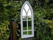 ARCHED GOTHIC WHITE SHABBY CHIC MIRROR 9 PANE GARDEN MIRROR OR INDOOR HOUSE