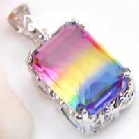 Elegant Jewelry Gift Rectangle Watermelon Tourmaline Gem Silver Necklace Pendant