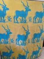 """Vintage Blanket Lilala mothproof 60"""" x 64"""" AntelopeDeer African Reversible"""
