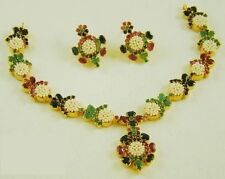INDIAN TRADITIONAL GEMSTONE RUBY EMERALD BLUE SAPPHIRE NECKLACE SET WITH PEARL