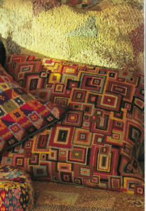 Overlapping Squares Cushion Tapestry Needlepoint Chart in Colour Kaffe Fassett
