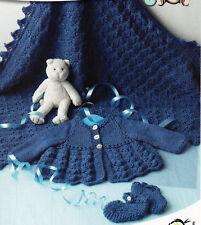 Baby Knitting Pattern MATINEE Veste Chaussures Châle Prem 14 - 18 in (environ 45.72 cm) poitrine DK