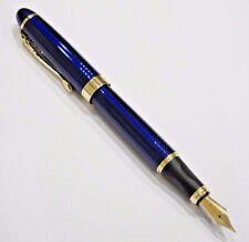 Jinhao X450 Blue Spiral Twist Fountain Pen, MEDIUM Nib Gold Trim - UK SOLD!