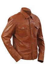 Infinity Men's Retro Denim Style Slimfit Casual Tan Leather Shirt Jeans Jacket S