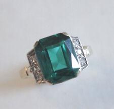 Art Deco Diamond Emerald 14k Yellow Gold RIng Size 5.5