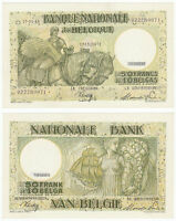 BELGIUM 50 Francs 10 Belgas 1945 P-106 AUNC Almost Uncirculated