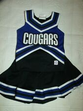 BLACK & BLUE COUGARS CHEERLEADER OUTFIT HALLOWEEN COSTUME YOUTH SIZE