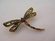 Dragon Fly Lacquered with Crystals Colorful Looks Untouched Monet Vintage Brooch