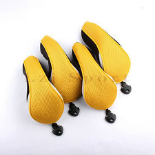 Yellow Set Of 4PCS Golf Hybrid Cover Headcover For Mizuno Taylormade Adams Cobra