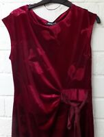 Women Ladies New Velvet Floral Side Tie Knot Fitted Stretch Bodycon Dress UK8-18