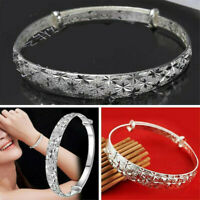 Classic Women 925 Silver Chain Bangle Cuff Charm Bracelet Fashion Jewelry Gift