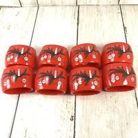 Vtg Mid Century Red Christmas Napkin Rings LOT of 8 Reed Hong Kong Plastic
