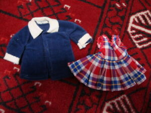 """Vintage 8"""" doll coat with dress"""